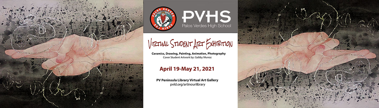 Painting of hands on gray background with gold swirls by Gabby Munoz. PVHS Logo with Triton. Text as described below.