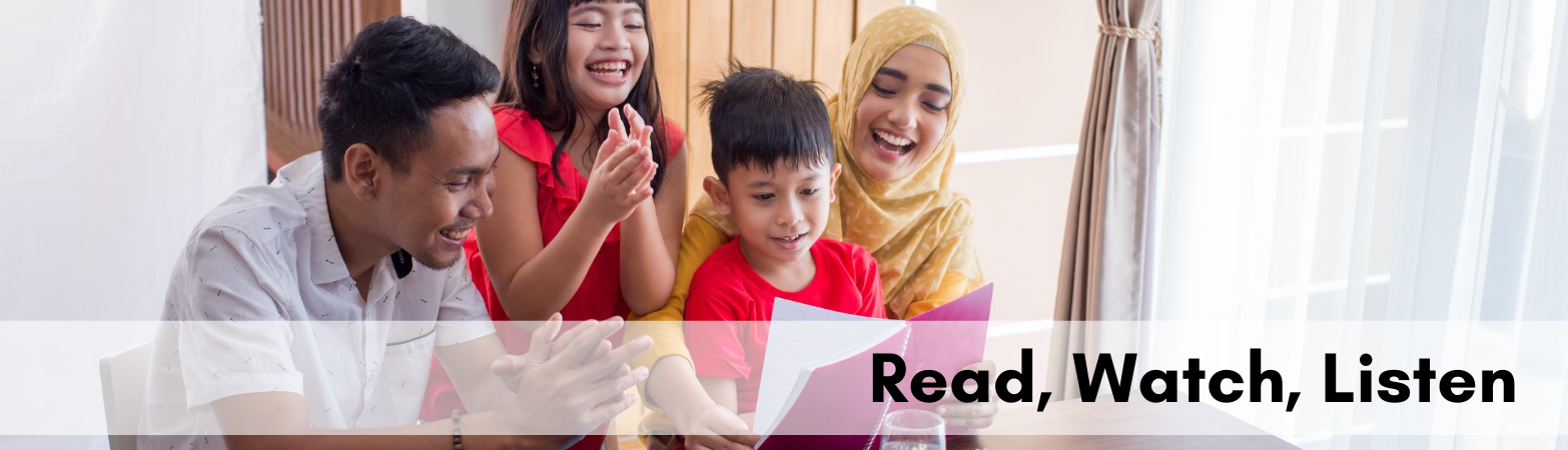 """Photo of Muslim family reading together with text """"Read, Watch, Listen"""""""