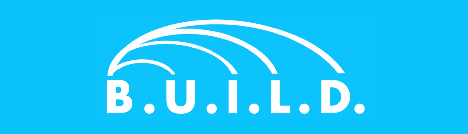 Light blue background with white text: B.U.I.L.D. and lines coming out of each letter in an arch