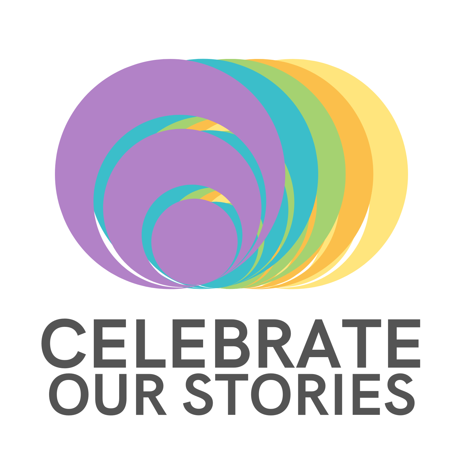 purple, blue, green, orange, yellow rings with text: celebrate our stories