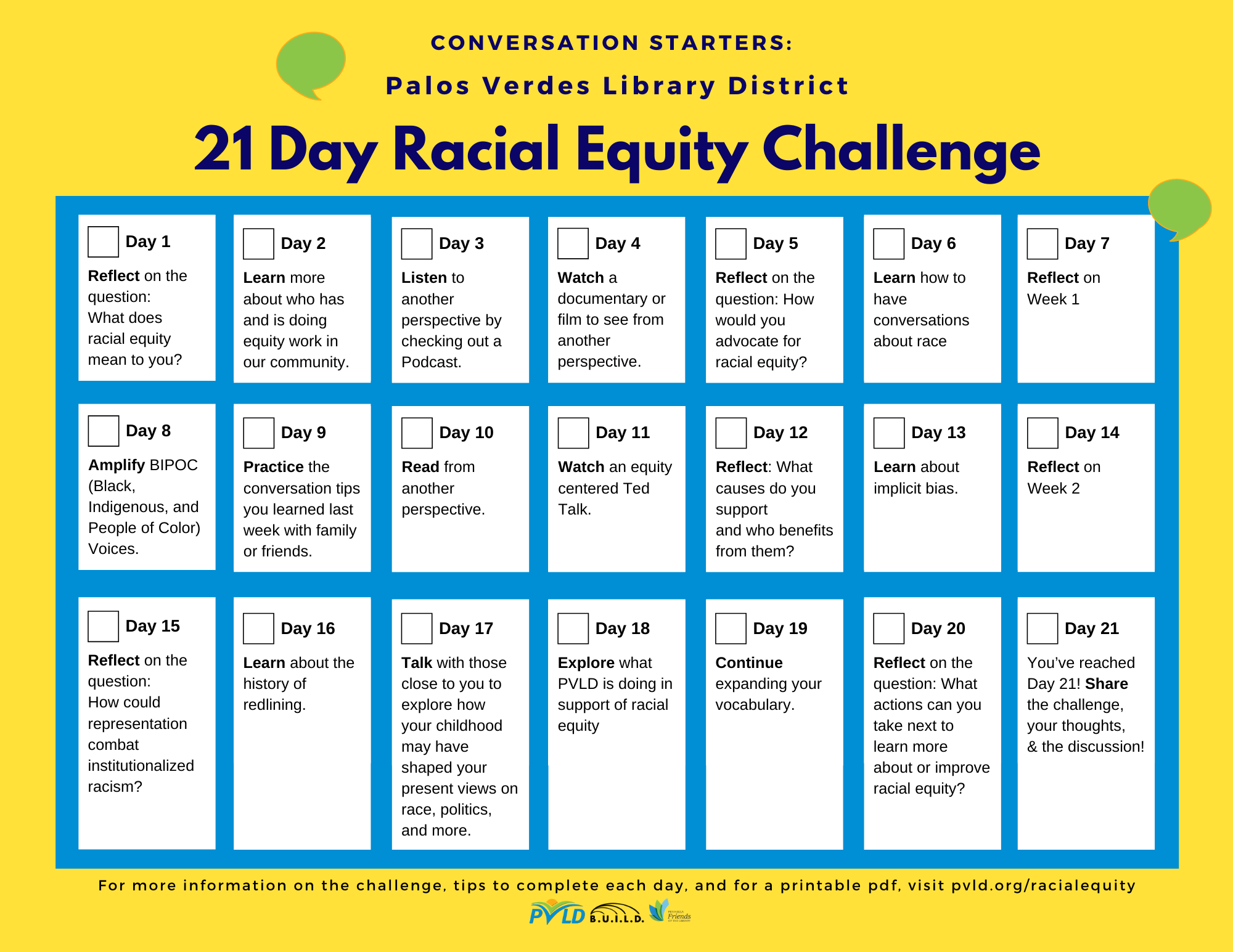 Calendar with 21 Day Racial Equity Challenge Activities. Text available at tab on the left.