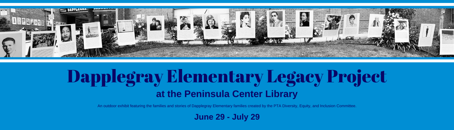Light blue background with dark blue text typed out below. Black and white photo of exhibit on Dapplegray Elementary lawn.
