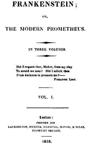 Title page of first edition Frankenstein